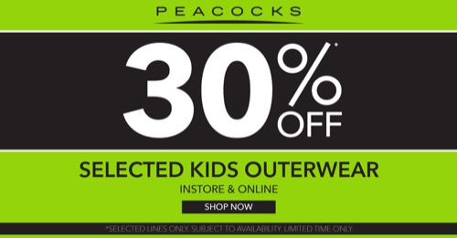 900cc7058 30% off selected kids outerwear – visit in-store to view our range ...